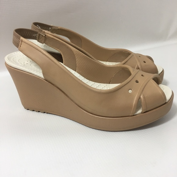 f2584dffc CROCS Shoes - Crocs Peep Toe Slingback Wedge Pumps Sandals 7 Tan